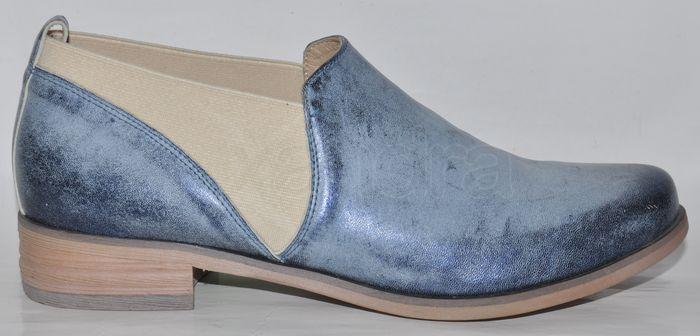 1201abaab1 Dámske kožené polokotníky Laura Messi 10103 - modré - kabelkyaobuv ...