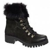 71935bd208a8 Dámske kožené kotniičky s kožušinkou Olivia Shoes B1809 - 9904 - čierne